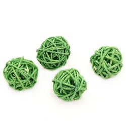 Rattan Ball, Wooden, Decoration, Craft Projects, DIY  30 mm green - 4 pieces