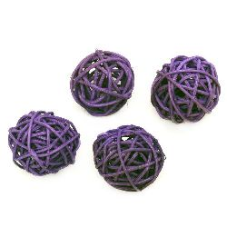 Rattan Ball, Wooden, Decoration, Craft Projects, DIY  30 mm purple - 4 pieces