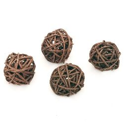 Rattan Ball, Wooden, Decoration, Craft Projects, DIY 30 mm brown - 4 pieces