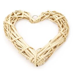 Rattan heart for decoration 200x190x30 mm