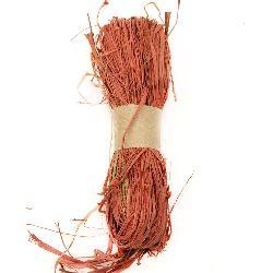 Лико/рафия натурално цвят оранжев тъмно -30 грама