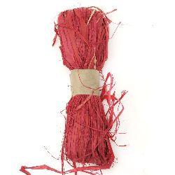 Лико/рафия натурално цвят червен -30 грама