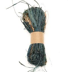 Лико/рафия натурално цвят синьо-зелен -30 грама
