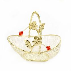Metal basket with flower 45x85x80 mm gold color
