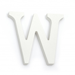 """Letter wood """"W"""" 110x180x12 mm - white,Decoupage Scrapbooking Gifts Decoration"""