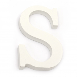 """Letter wood """"S"""" 110x71x12 mm - white,Decoupage Scrapbooking Gifts Decoration"""