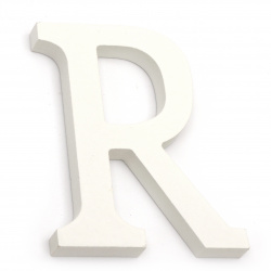 """Letter wood """"R"""" 110x90x12 mm - white,Decoupage Scrapbooking Gifts Decoration"""