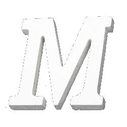 """Letter wood """"M"""" 110x100x12 mm - white,Decoupage Scrapbooking Gifts Decoration"""