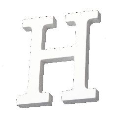 """Letter wood """"H"""" 110x88x12 mm - white,Scrapbooking Gifts Decoration"""