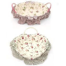 Fabric Basket for Decoration with handles 155x220x70 mm, 160x210x65 mm, 170x230x60 mm different shapes and colors