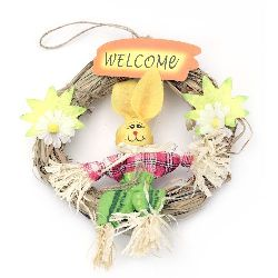Wreath natural 160 mm with Easter decoration for hanging