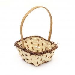 Wooden Decorative Square Basket 50x100x170 mm beige