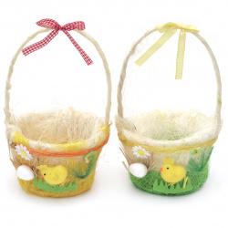 Καλάθι 240x130 mm από διακοσμητικό χόρτο με αυγά και κοτόπουλα- διαφορετικά χρώματα. Η τιμή είναι ανά τεμάχιο.