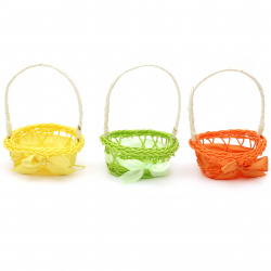 Basket woven ,decoration for Easter130x90 mm ellipse mix colors