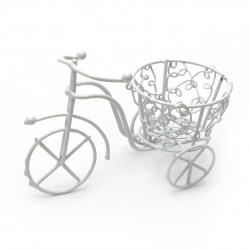 Кошница метална 100x80 мм цвят бял колело