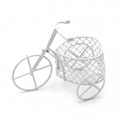 Кошница метална 100x70 мм цвят бял колело