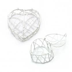 Кутийка сърце метално 60x55x50 мм цвят бял