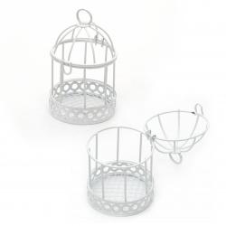 Клетка за птици метална 55x90 мм цвят бял