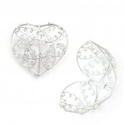 Кутийка сърце метално 65x73x53 мм цвят бял