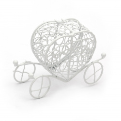 Καρδιά άμαξα, μεταλλικό διακοσμητικό κουτί 90x65 mm λευκό