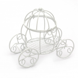 Carriage metal pumpkin 115x105 mm color white