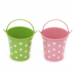 Metal bucket for decoration 70x50x70 mm in dots ASSORTED colors