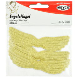 Ангелски крила текстил 10.3x2 см Lurex Meyco злато -3 броя
