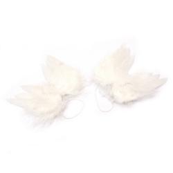 Ангелски крила малки 9.5x7.5 см Meyco бели пера -2 броя