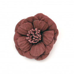 Flower made of suede paper 50x22 mm dark red pastel color
