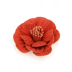 Flower made of suede paper 50x22 mm orange pastel color