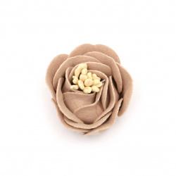 Цвете от велурена хартия 35x23 мм тичинки цвят бледо розов пастел