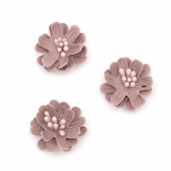 Цвете от велурена хартия 25x10 мм тичинки цвят бледо розов пастел -5 броя