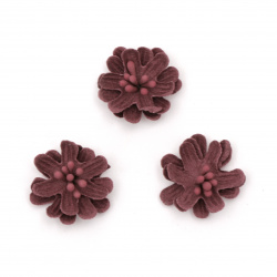 Flower made of suede paper with stamens 25x10 mm color deep pink pastel - 5 pieces