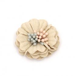 Λουλούδι κεφάλι από σουέτ χαρτί με στήμονες  30x13 mm σαμπανιζέ παστέλ