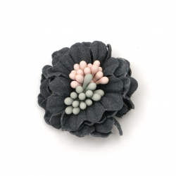 Flower made of suede paper with a stump and colored stamens 30x13 mm color dark blue pastel