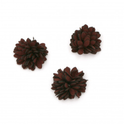 Fabric element for flower decoration 25 mm burgundy - 5 pieces