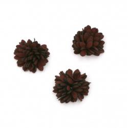 Текстилен елемент за декорация цвете 25 мм цвят бордо -5 броя