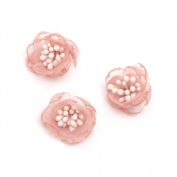 Organza flower with  stamens for DIY Accessories 20 mm color light pink - 5 pieces