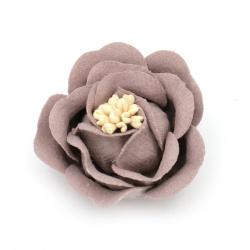 Цвете от велурена хартия 35x23 мм тичинки цвят бледо лилав пастел