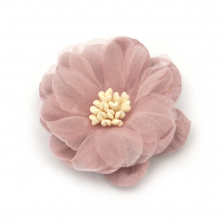 Цвете от велурена хартия и органза тичинки 47x20 мм цвят розово лилав