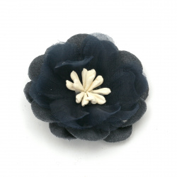 Цвете от велурена хартия и органза тичинки 47x20 мм цвят тъмно син