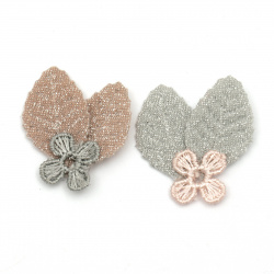 Textile element for decoration flower with petals 30x30 mm color mix gray, pink -5 pieces