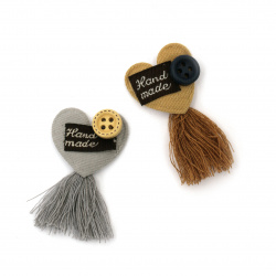 Textile element for decoration heart with inscription and tassel 45x25 mm color mix gray, pink -5 pieces