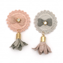 Textile element for decoration emblem with crystal and tassel 60x33 mm color mix gray, pink -5 pieces