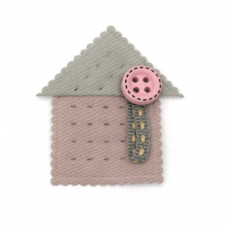 Textile element for decorating a house with a button 35x40 mm color mix -5 pieces