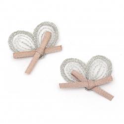 Текстилен елемент за декорация панделка 32x23 мм цвят микс сребро, розов -5 броя