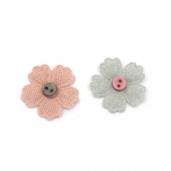 Textile element for flower decoration with button 24 mm color mix gray, pink -10 pieces