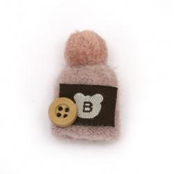 Текстилен елемент за декорация шапка с помпон и копче 40x25 мм цвят розов -2 броя