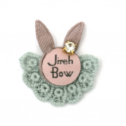 Textile element for decoration bunny with inscription and crystal 35x34 mm color mix pink, gray -5 pieces