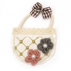 Textile element for decoration basket with flowers 60x75 mm color mix -2 pieces